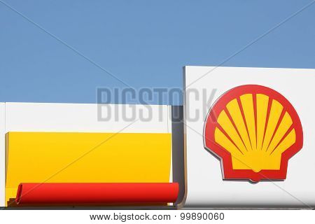 Shell logo on a gas station