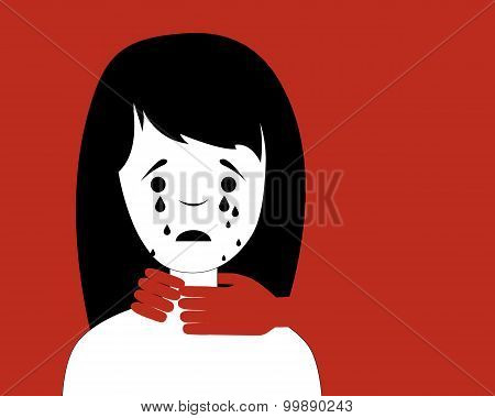 Domestic violence. Man strangling a woman. Vector illustration