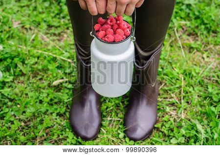 White Can With Fresh Raspberry