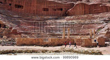 View Of Ancient Amphitheater In Petra, Jordan
