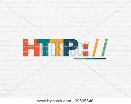 Web development concept: Http on wall background