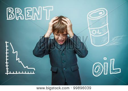 drop in the price of oil barrel brand businessman teenager holdi