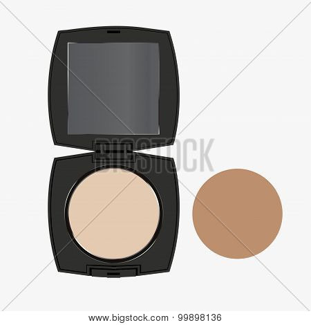 vector modern face powder isolated on white