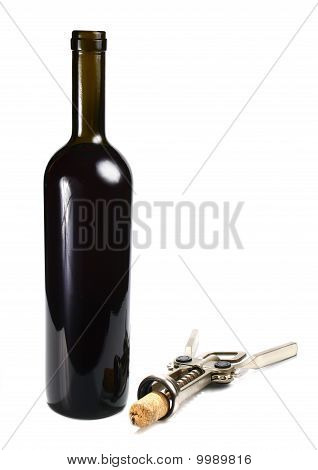 Bottle With Red Wine And Cork-screw