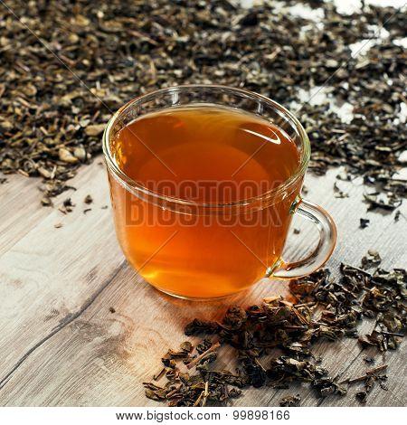 Cup Of Tea In Tea Leaves