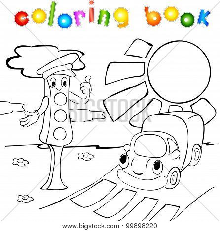 Traffic Lights With Lorry. Coloring Book