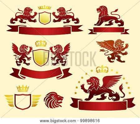 Lions set with banners and crowns