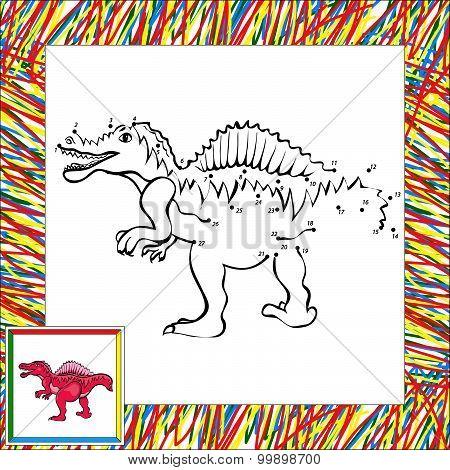 Funny Cartoon Spinosaurus Dot To Dot