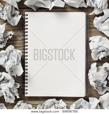 Notepads And Crumpled Paper
