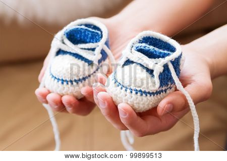 Little Baby Shoes. Handknitted First Sneakers For Boy Or Girl. Crochet Handmade Bootees