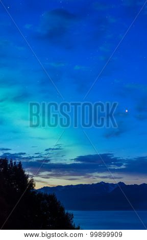 Early Dawn Aurora Over Kachemak Bay Alaska
