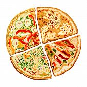 Постер, плакат: Illustration of tasty pizza