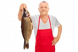 foto of freshwater fish  - Mature fishmonger in a red apron holding a large freshwater fish and looking at the camera isolated on white background - JPG