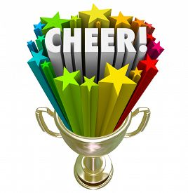 stock photo of trophy  - Cheer word in gold trophy with stars to illustrate winning award or prize for best or top performance of a cheerleading squad or team at final national or state competition - JPG
