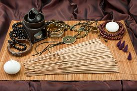 picture of vedic  - Still life with spices Buddhist accessories Indian spices Vedic jewelry Set for relaxation - JPG