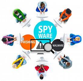 image of spyware  - Spyware Hacking Phishing Malware Virus Concept - JPG