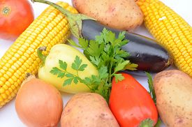 pic of decomposition  - Different vegetables on a white background decomposition - JPG