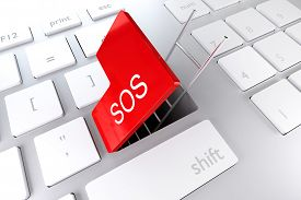 stock photo of underpass  - computer keyboard with red enter key hatch underpass ladder sos - JPG