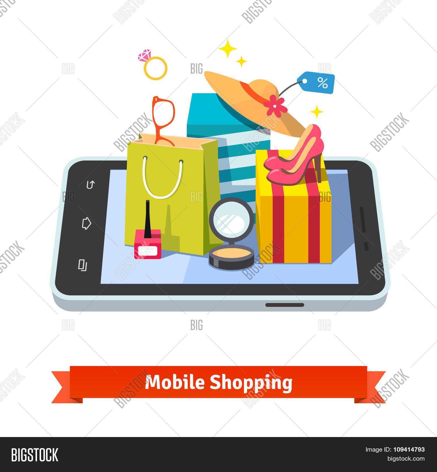 Woman mobile online shopping Stock Vector & Stock Photos ...