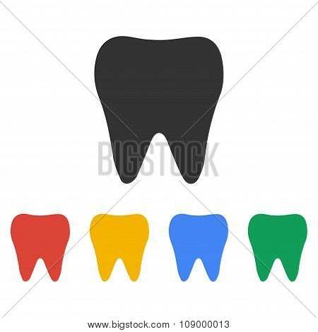 Tooth Icon. Flat Design Style.