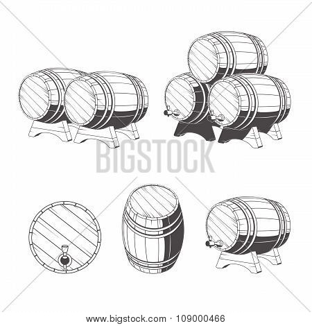 Logo Wooden Barrels For Storage Of Drinks. Old Winery, Storage Of A Hard Liquor.