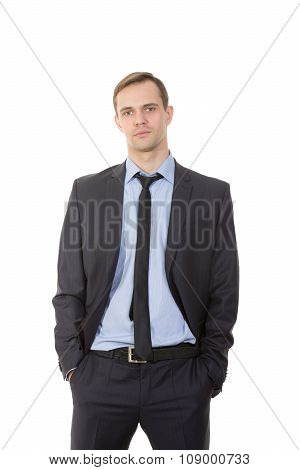 body language. man in business suit isolated on white background. hands pockets