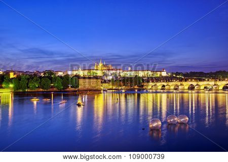 View Of Prague Castle From The River Vltava.czech Republic.