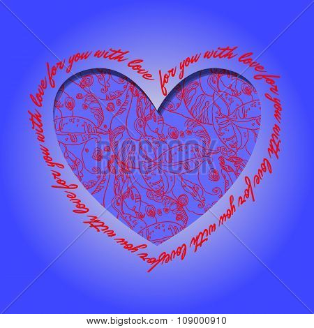 Love card. Deep blue red heart design with abstract  pattern.