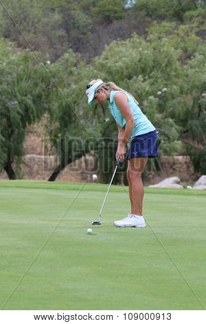 Smiling Ladies Pro Golfer Daniella Montgomery Sinking One For Her Team November 2015 In South Africa