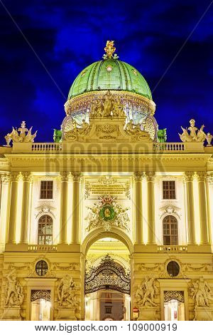 Hofburg Palace Seen From Michaelerplatz, Wide-angle View At Dusk.vienna.austria.