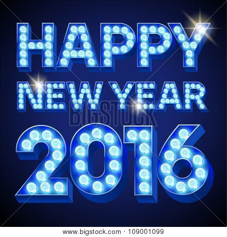 Vector  Happy 2016 new year greeting card with festive text with blue lamp