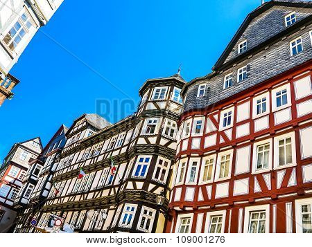 A row half-timbered houses on the market square in Marburg, Germany