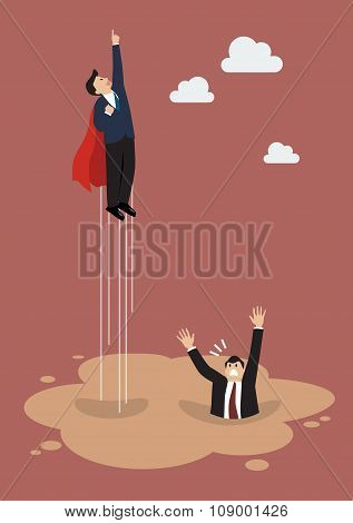 Businessman Superhero Get Away From Puddle Of Quicksand