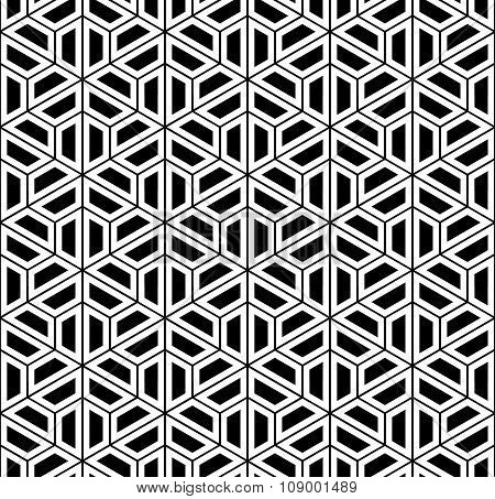 Vector modern seamless sacred geometry pattern hexagon black and white abstract