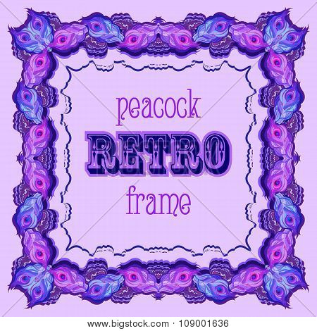 Violet frame with painted peacock feathers and retro label