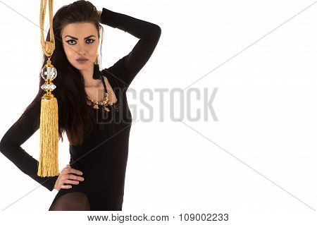 woman in bodysuit with brush