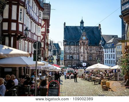 Market square with historical Town Hall in University City of Marburg, Germany