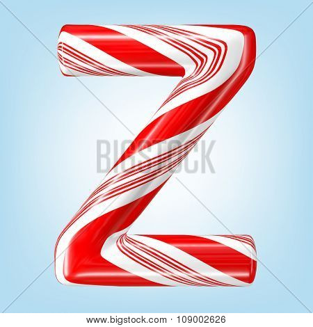 Mint hard candy cane vector alphabet collection striped in Christmas colours. Letter Z. Eps 8 using mesh.