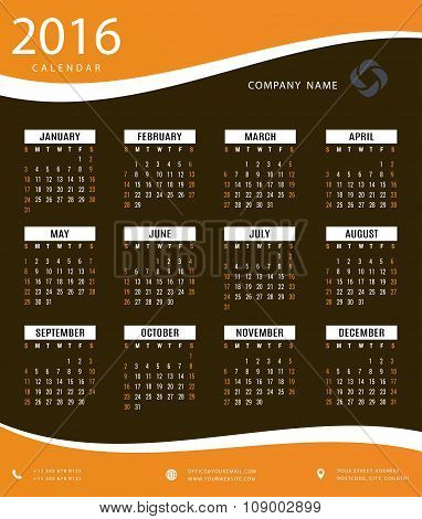 Simple 2016 calendar template for office and private use