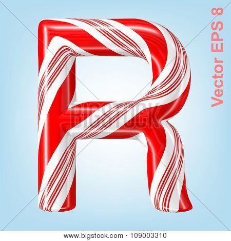 Mint hard candy cane vector alphabet collection striped in Christmas colours. Letter R. Eps 8 using mesh.