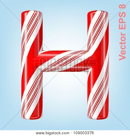 Mint hard candy cane vector alphabet collection striped in Christmas colours. Letter H. Eps 8 using mesh.