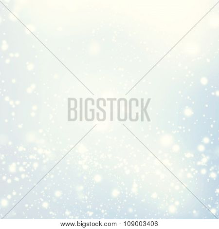 Abstract Glittering Stars On Bokeh Background.   Festive Blue And White Color Sparkling Vintage Back