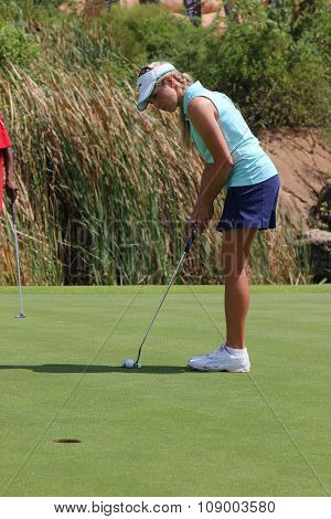Smiling Ladies Pro Golfer Daniella Montgomery Focusing To Put November 2015 In South Africa