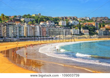 Sand Beach In San Sebastian, Spain