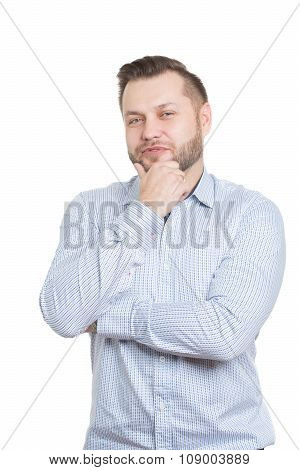 adult male with a beard. isolated on white background. finger under his chin. scratching beard, gest