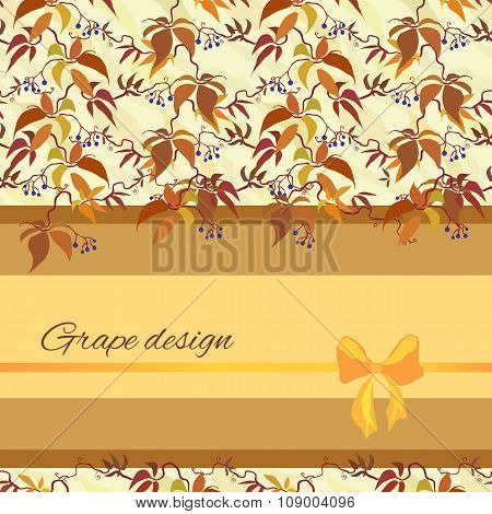 Background with pattern of autumn wild grape branches and bow.