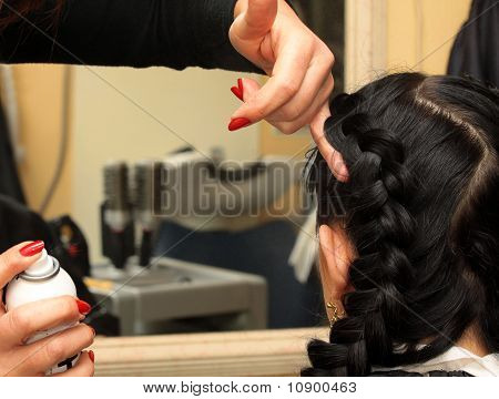 Hairdresser Makes Hairstyle On The Long Black Hair Woman