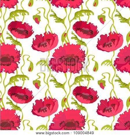 Seamless pattern of poppies stems, leaves and buds isolated.