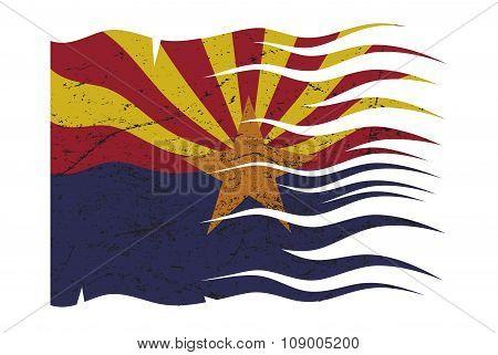 Wavy Arizona Flag Grunged