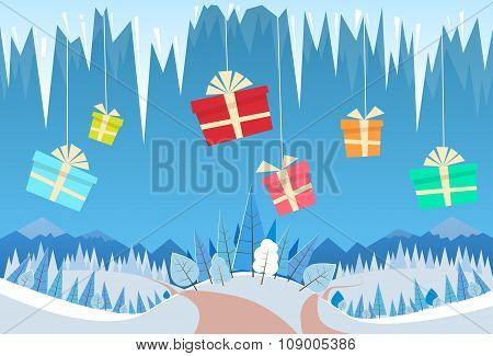 Winter Forest Landscape Christmas Background Gift Box Present Hang on Icicle